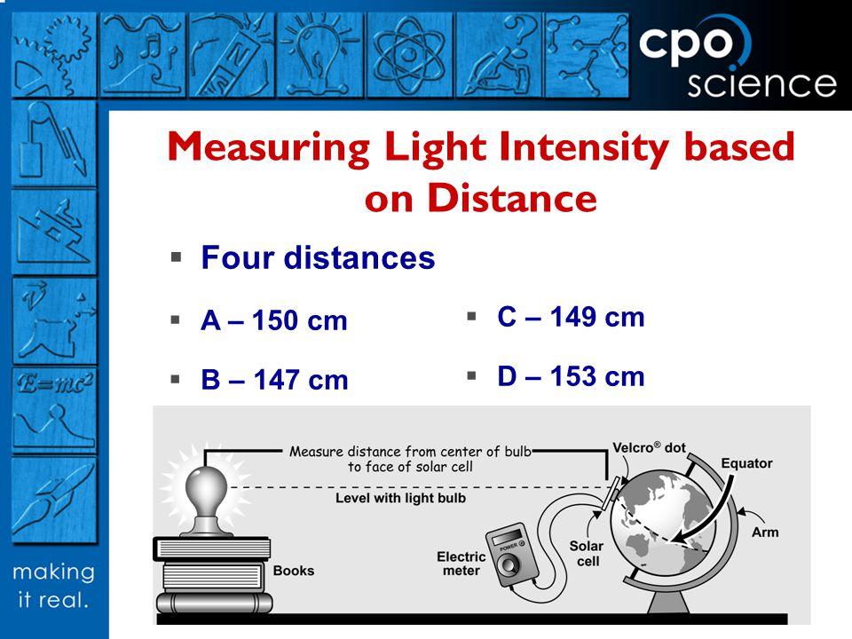 Measuring Light Intensity based on Distance Four distances A – 150 cm B – 147 cm C – 149 cm D – 153 cm