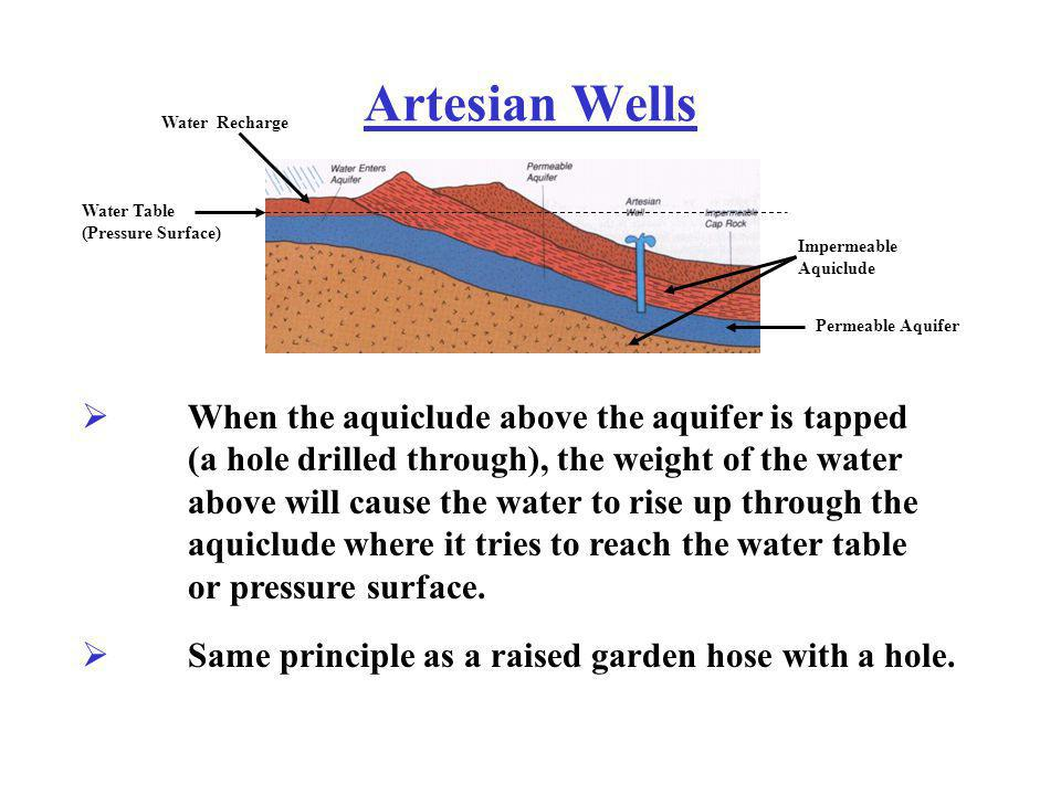Artesian Wells When the aquiclude above the aquifer is tapped (a hole drilled through), the weight of the water above will cause the water to rise up