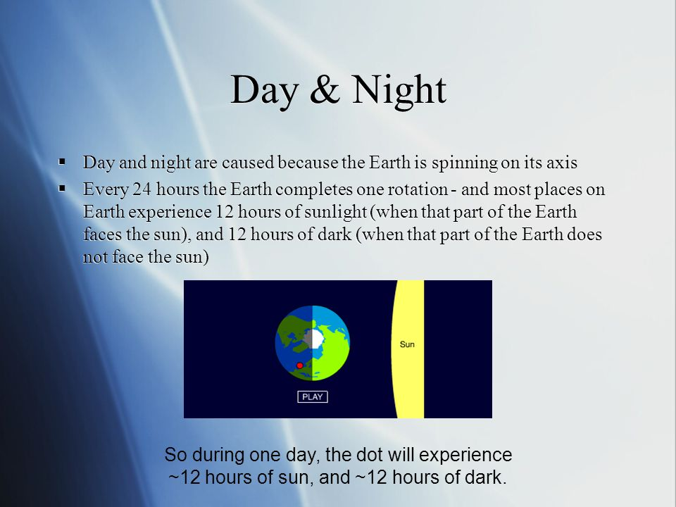 Day & Night Day and night are caused because the Earth is spinning on its axis Every 24 hours the Earth completes one rotation - and most places on Ea