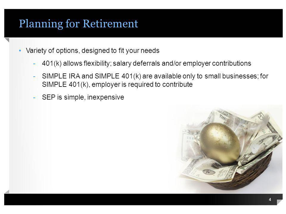 Planning for Business Succession Critical to start now – need to have plan for unexpected events Significant impact if a principal owner/ partner suddenly leaves or dies Several strategies available to finance a smooth transition Sources of financing can include: -Life insurance -Buy-sell agreement -Grantor trust Best plan should fit structure of company, personal preferences & needs 15