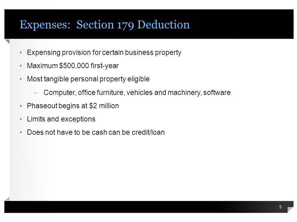 Expenses: Bonus Depreciation If 179 is not enough….
