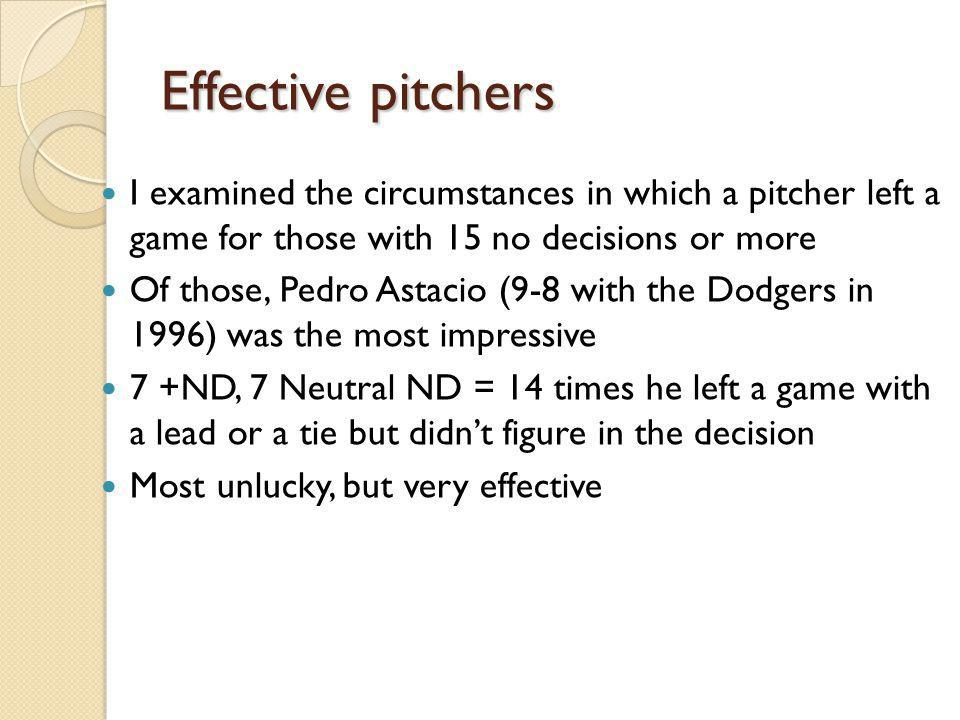 Effective pitchers I examined the circumstances in which a pitcher left a game for those with 15 no decisions or more Of those, Pedro Astacio (9-8 with the Dodgers in 1996) was the most impressive 7 +ND, 7 Neutral ND = 14 times he left a game with a lead or a tie but didnt figure in the decision Most unlucky, but very effective