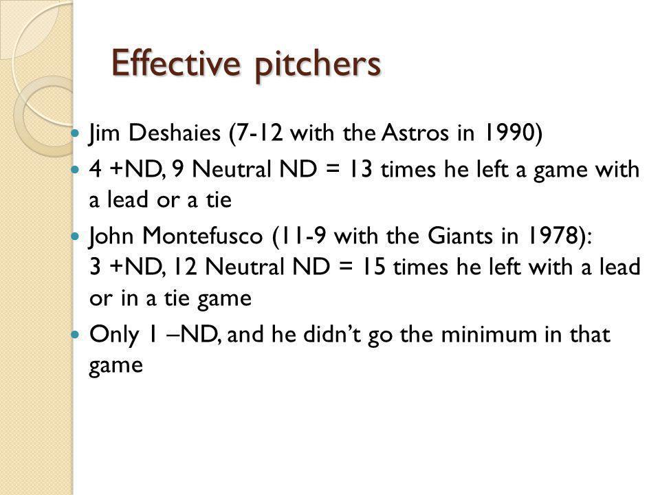 Effective pitchers Jim Deshaies (7-12 with the Astros in 1990) 4 +ND, 9 Neutral ND = 13 times he left a game with a lead or a tie John Montefusco (11-9 with the Giants in 1978): 3 +ND, 12 Neutral ND = 15 times he left with a lead or in a tie game Only 1 –ND, and he didnt go the minimum in that game