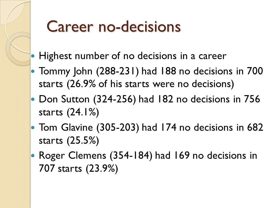 Career no-decisions Highest number of no decisions in a career Tommy John (288-231) had 188 no decisions in 700 starts (26.9% of his starts were no decisions) Don Sutton (324-256) had 182 no decisions in 756 starts (24.1%) Tom Glavine (305-203) had 174 no decisions in 682 starts (25.5%) Roger Clemens (354-184) had 169 no decisions in 707 starts (23.9%)