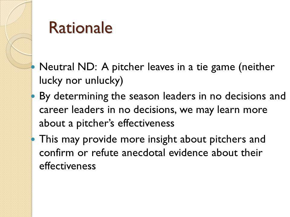 Rationale Neutral ND: A pitcher leaves in a tie game (neither lucky nor unlucky) By determining the season leaders in no decisions and career leaders in no decisions, we may learn more about a pitchers effectiveness This may provide more insight about pitchers and confirm or refute anecdotal evidence about their effectiveness