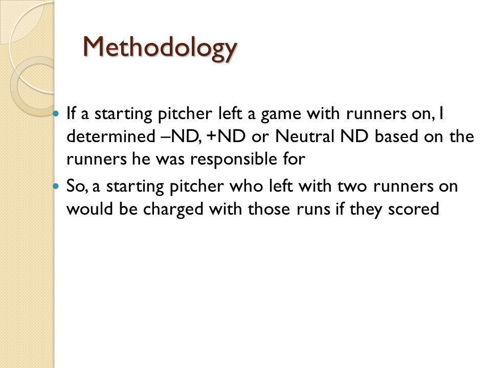 Methodology If a starting pitcher left a game with runners on, I determined –ND, +ND or Neutral ND based on the runners he was responsible for So, a s
