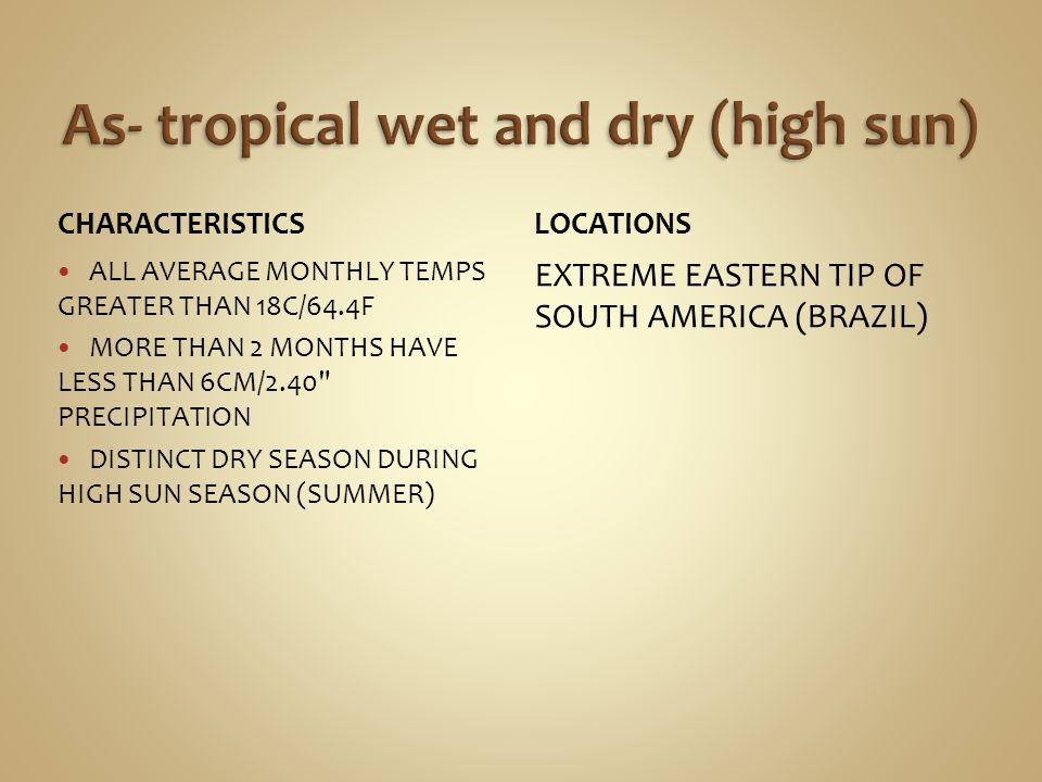 CHARACTERISTICS ALL AVERAGE MONTHLY TEMPS GREATER THAN 18C/64.4F MORE THAN 2 MONTHS HAVE LESS THAN 6CM/2.40 PRECIPITATION DISTINCT DRY SEASON DURING HIGH SUN SEASON (SUMMER) LOCATIONS EXTREME EASTERN TIP OF SOUTH AMERICA (BRAZIL)