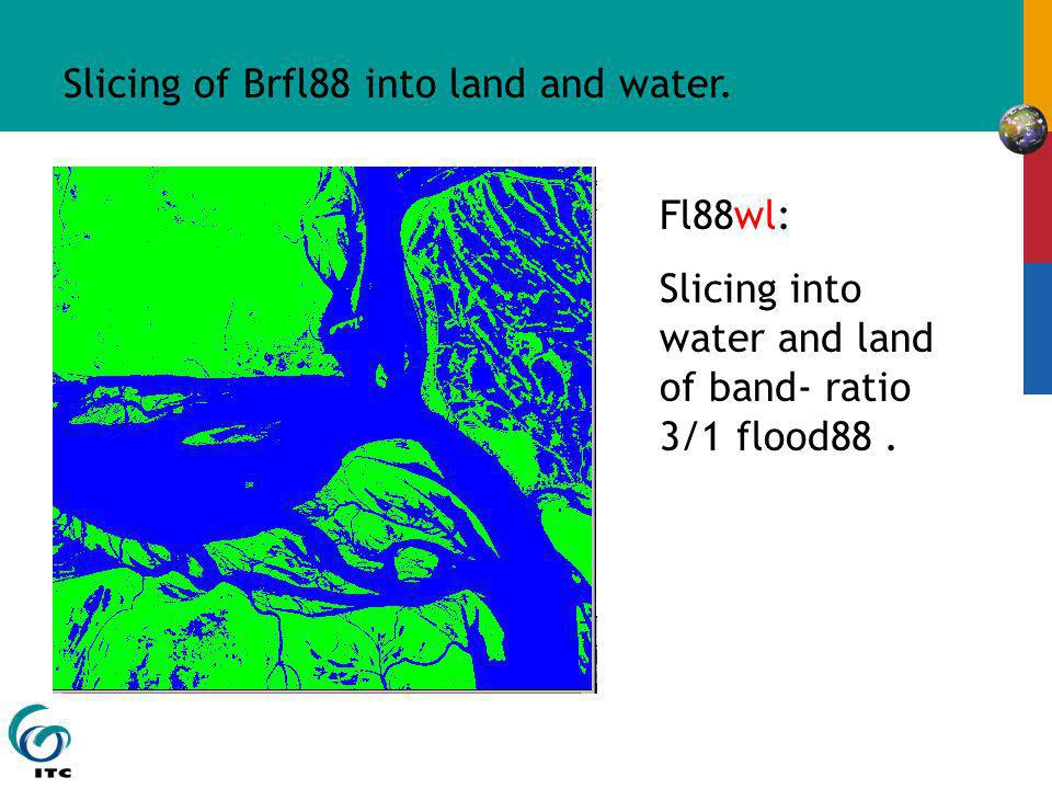 Slicing of Brfl88 into land and water. Fl88wl: Slicing into water and land of band- ratio 3/1 flood88.