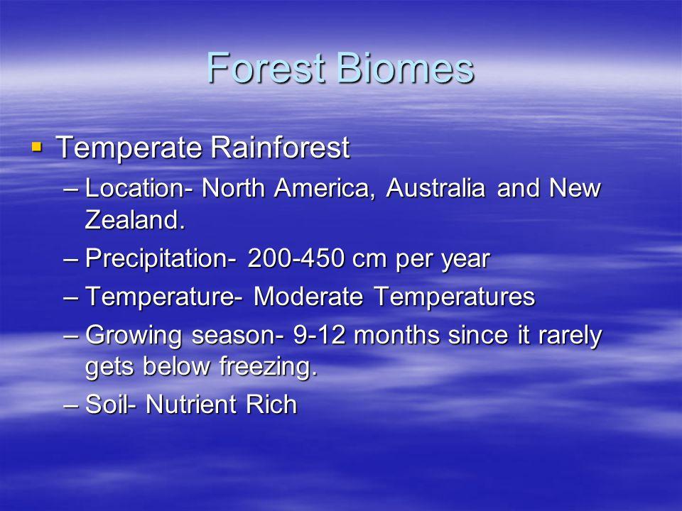 Forest Biomes Temperate Rainforest Temperate Rainforest –Location- North America, Australia and New Zealand. –Precipitation- 200-450 cm per year –Temp