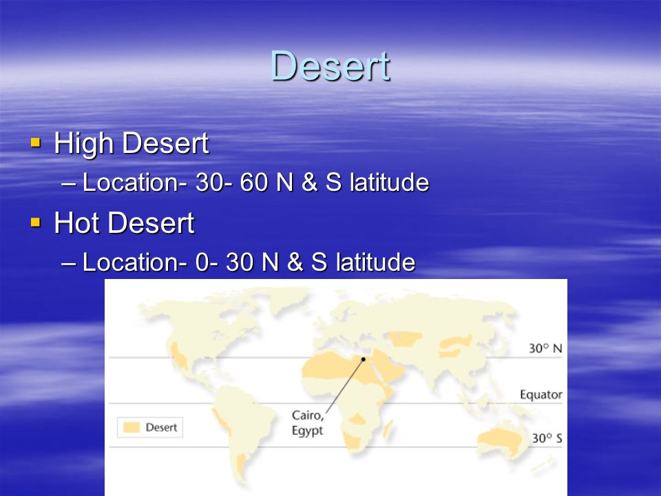 Desert High Desert High Desert –Location- 30- 60 N & S latitude Hot Desert Hot Desert –Location- 0- 30 N & S latitude