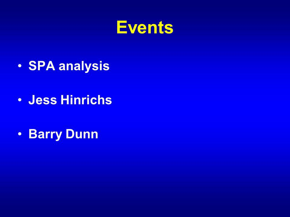 Events SPA analysis Jess Hinrichs Barry Dunn