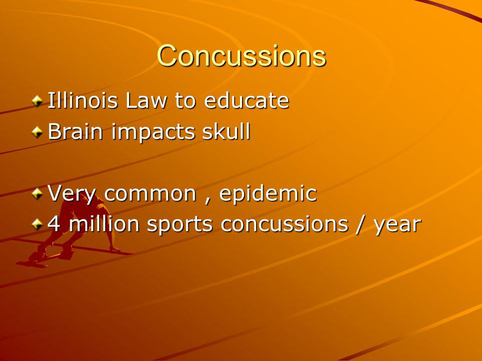 Concussions Illinois Law to educate Brain impacts skull Very common, epidemic 4 million sports concussions / year