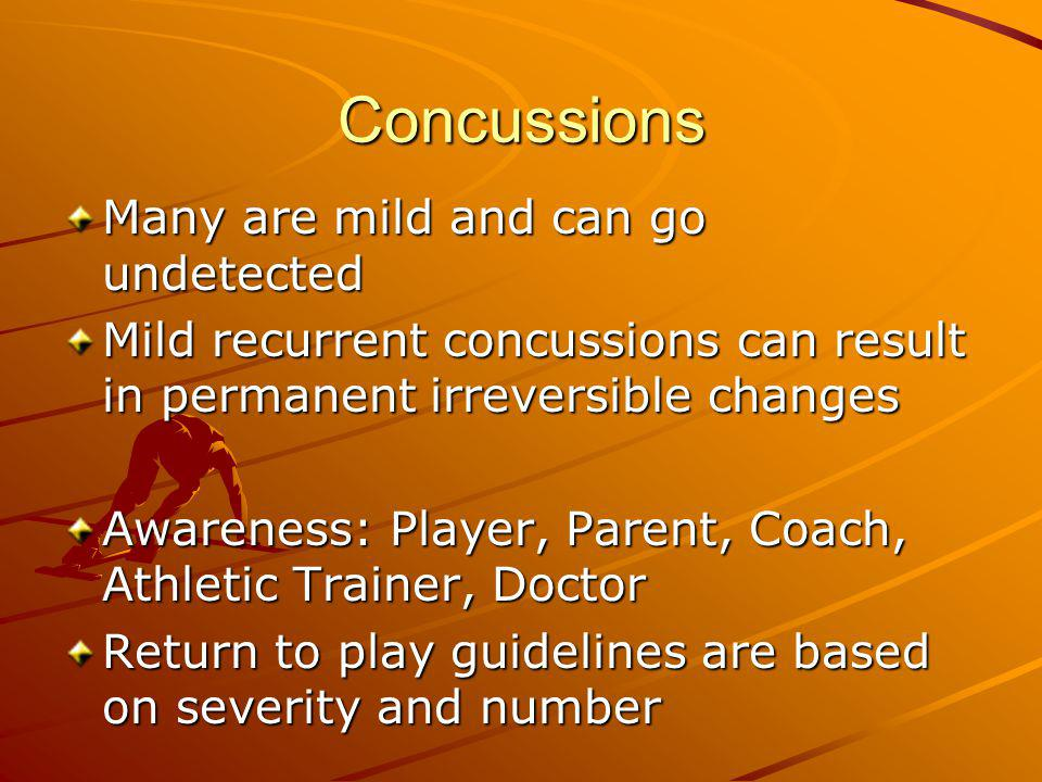 Concussions Many are mild and can go undetected Mild recurrent concussions can result in permanent irreversible changes Awareness: Player, Parent, Coa