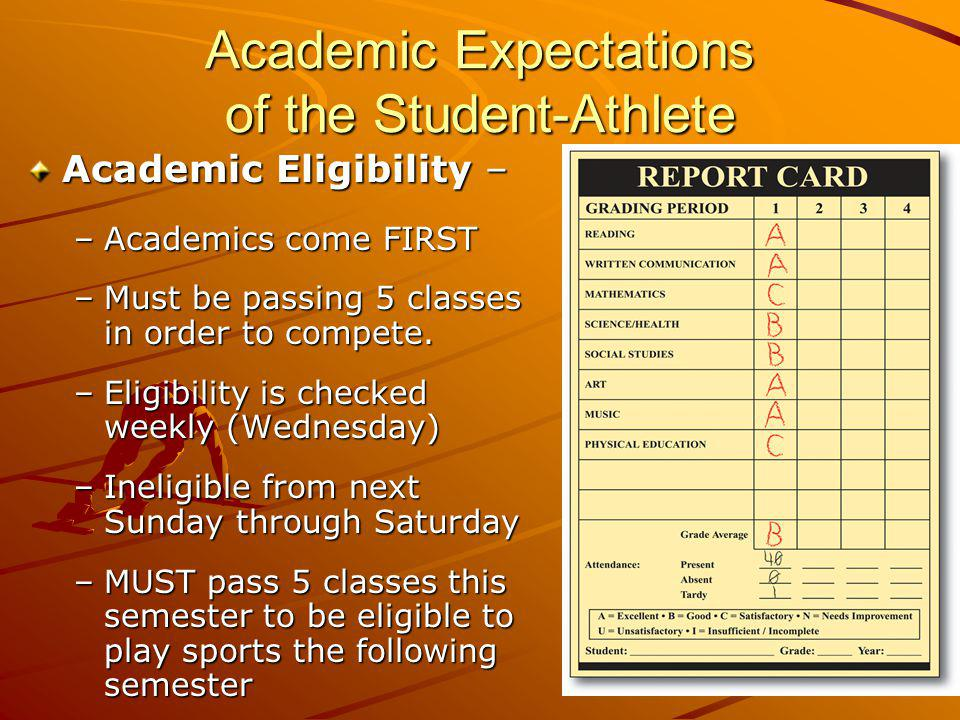 Academic Expectations of the Student-Athlete Academic Eligibility – –Academics come FIRST –Must be passing 5 classes in order to compete. –Eligibility