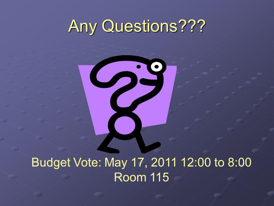 Any Questions??? Budget Vote: May 17, 2011 12:00 to 8:00 Room 115
