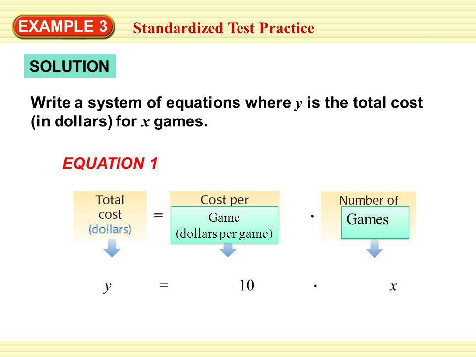 SOLUTION EXAMPLE 3 Standardized Test Practice Write a system of equations where y is the total cost (in dollars) for x games.