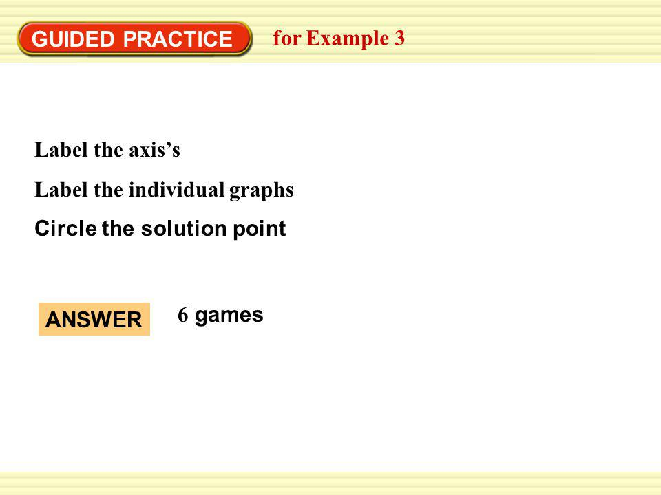 GUIDED PRACTICE for Example 3 Label the axiss Label the individual graphs Circle the solution point ANSWER 6 games