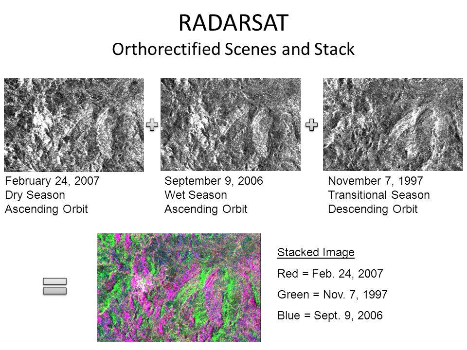 RADARSAT Orthorectified Scenes and Stack February 24, 2007 Dry Season Ascending Orbit September 9, 2006 Wet Season Ascending Orbit November 7, 1997 Transitional Season Descending Orbit Stacked Image Red = Feb.