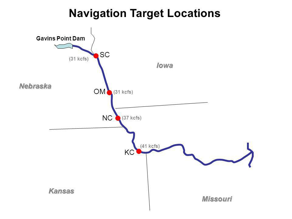 Nebraska Kansas Iowa Missouri SC OM NC KC Gavins Point Dam (31 kcfs) (37 kcfs) (41 kcfs) Navigation Target Locations