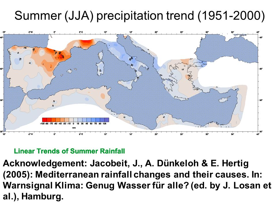 Acknowledgement: Jacobeit, J., A. Dünkeloh & E. Hertig (2005): Mediterranean rainfall changes and their causes. In: Warnsignal Klima: Genug Wasser für