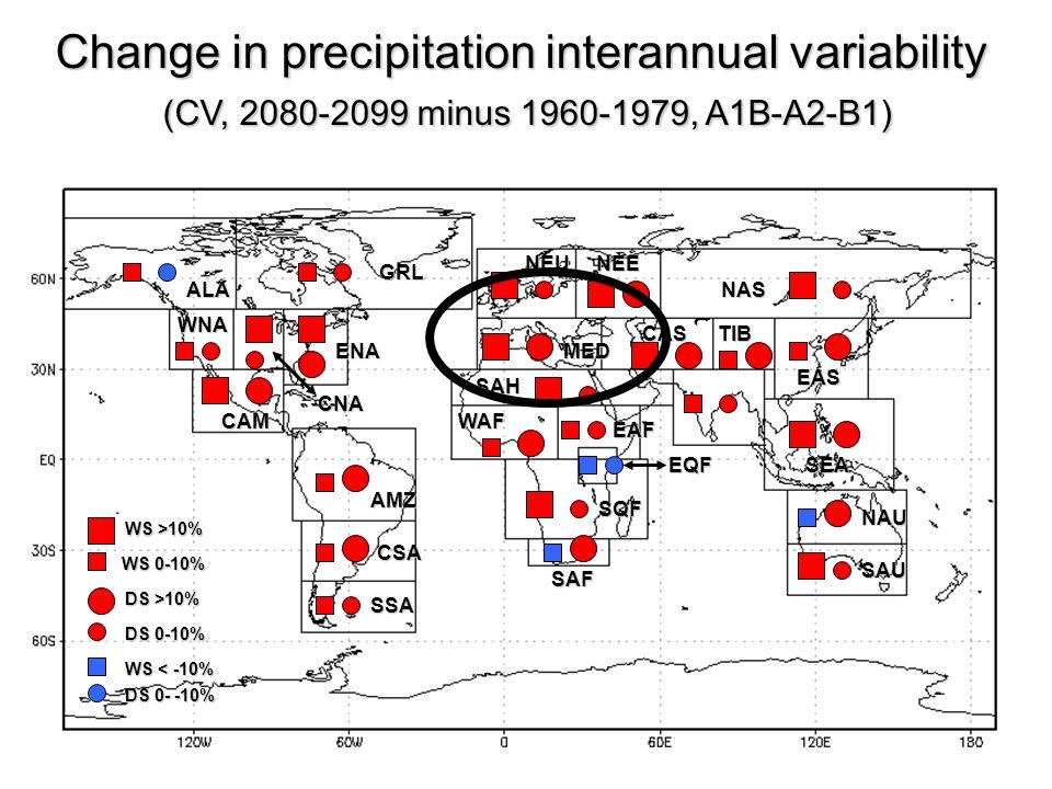 Change in precipitation interannual variability (CV, 2080-2099 minus 1960-1979, A1B-A2-B1) (CV, 2080-2099 minus 1960-1979, A1B-A2-B1) WS >10% WS 0-10%