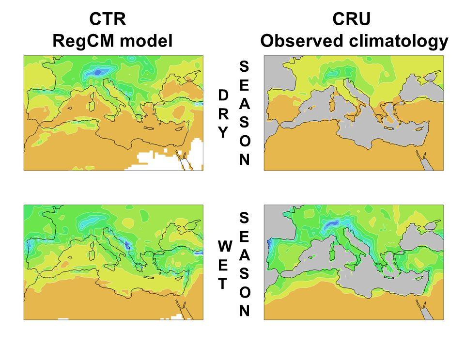 CRU Observed climatology CTR RegCM model WETWET SEASONSEASON SEASONSEASON DRYDRY