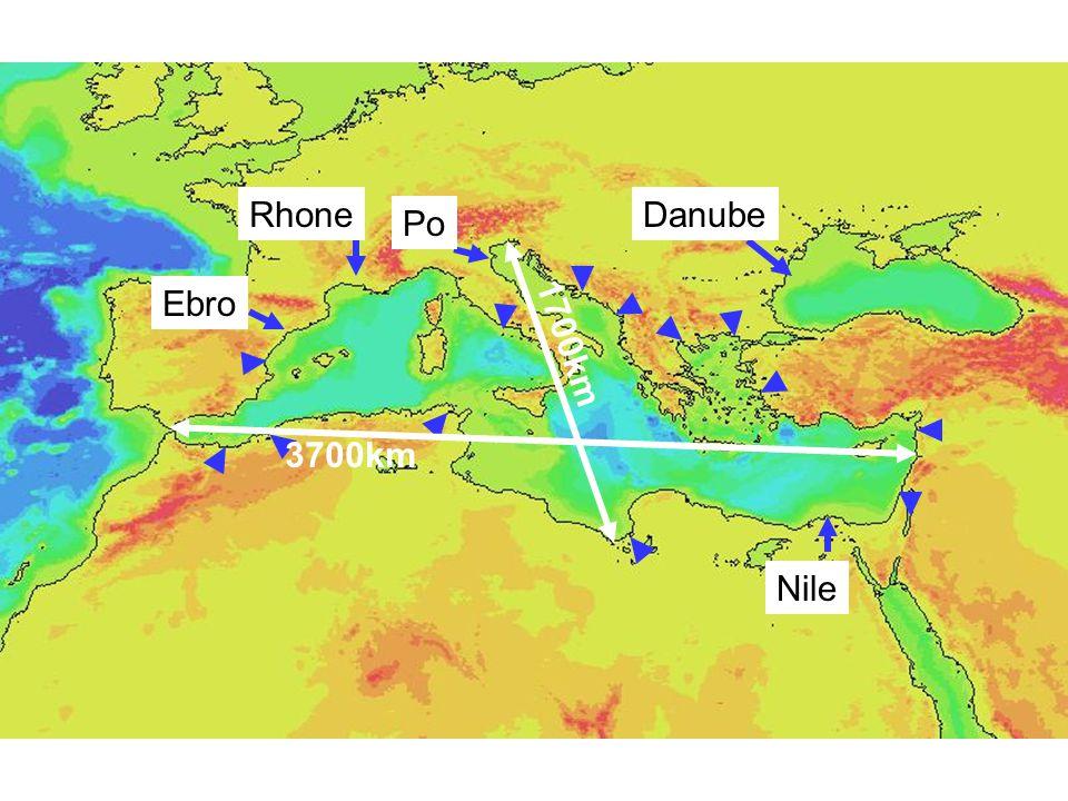 Ebro Rhone Po Nile 1700km Danube 3700km