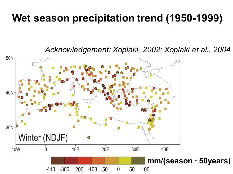mm/(season · 50years) Acknowledgement: Xoplaki, 2002; Xoplaki et al., 2004 Wet season precipitation trend (1950-1999)