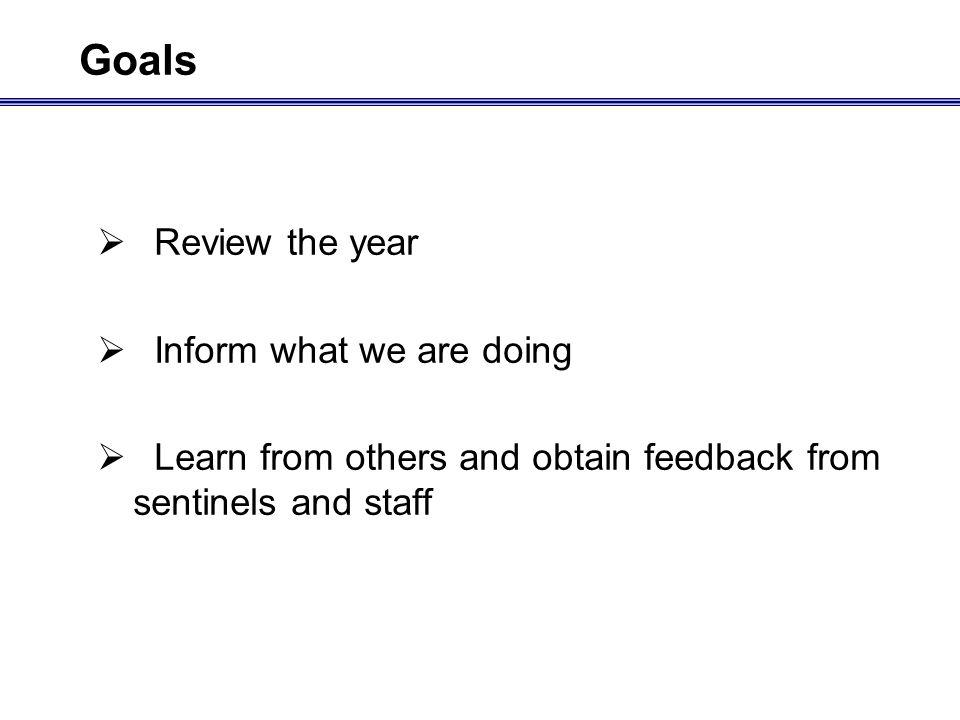 Goals Review the year Inform what we are doing Learn from others and obtain feedback from sentinels and staff
