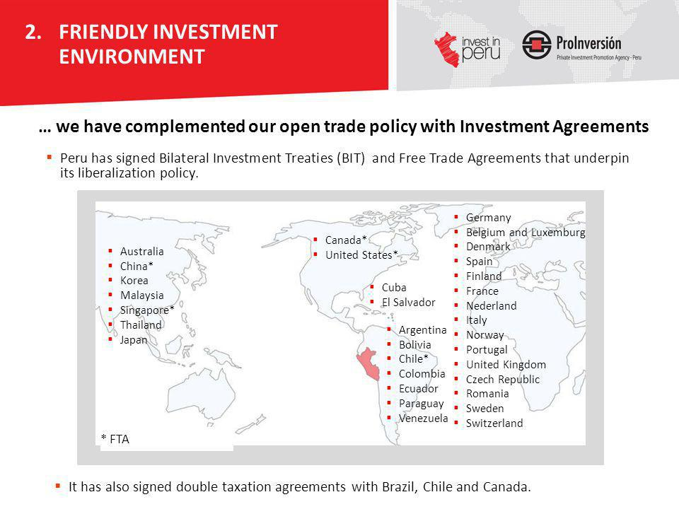 Peru has signed Bilateral Investment Treaties (BIT) and Free Trade Agreements that underpin its liberalization policy. Australia China* Korea Malaysia