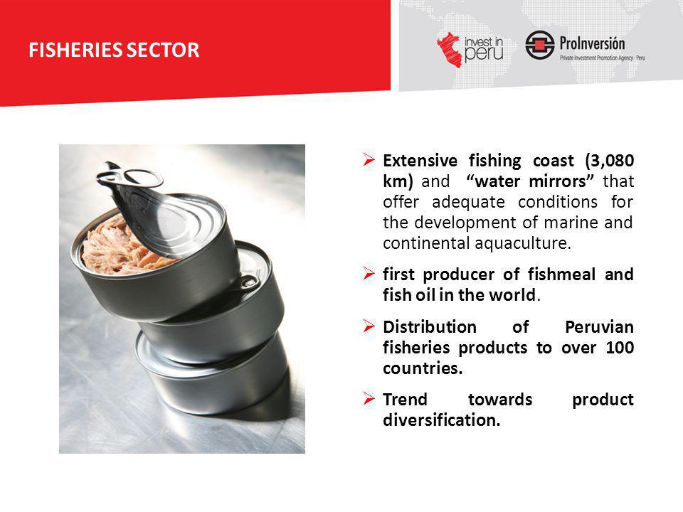 FISHERIES SECTOR Extensive fishing coast (3,080 km) and water mirrors that offer adequate conditions for the development of marine and continental aqu