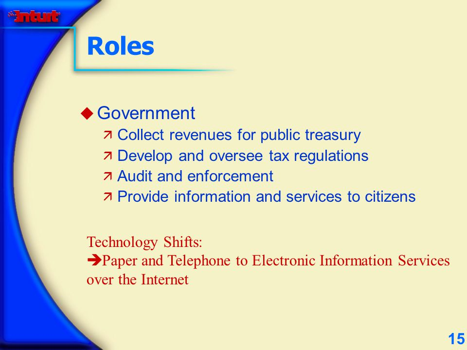 15 Roles u Government ä Collect revenues for public treasury ä Develop and oversee tax regulations ä Audit and enforcement ä Provide information and services to citizens Technology Shifts: è Paper and Telephone to Electronic Information Services over the Internet