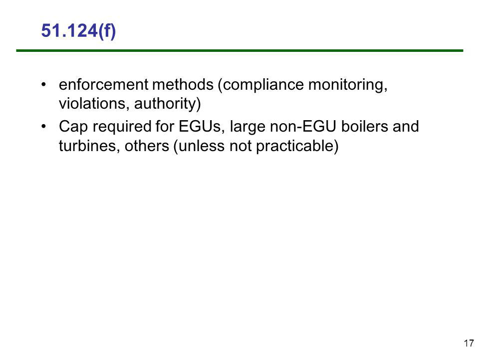 17 51.124(f) enforcement methods (compliance monitoring, violations, authority) Cap required for EGUs, large non-EGU boilers and turbines, others (unless not practicable)