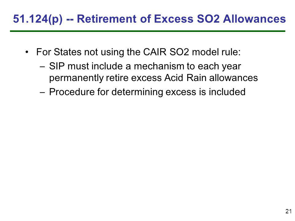 21 51.124(p) -- Retirement of Excess SO2 Allowances For States not using the CAIR SO2 model rule: –SIP must include a mechanism to each year permanently retire excess Acid Rain allowances –Procedure for determining excess is included
