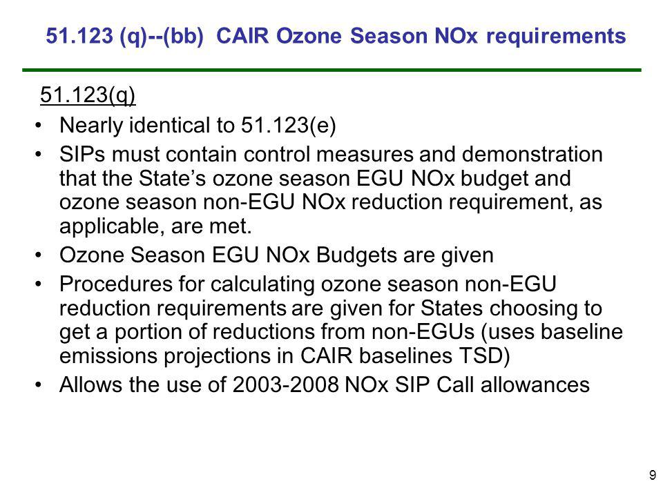 9 Nearly identical to 51.123(e) SIPs must contain control measures and demonstration that the States ozone season EGU NOx budget and ozone season non-EGU NOx reduction requirement, as applicable, are met.