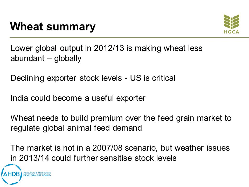 Wheat summary Lower global output in 2012/13 is making wheat less abundant – globally Declining exporter stock levels - US is critical India could become a useful exporter Wheat needs to build premium over the feed grain market to regulate global animal feed demand The market is not in a 2007/08 scenario, but weather issues in 2013/14 could further sensitise stock levels