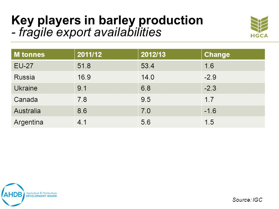 Key players in barley production - fragile export availabilities M tonnes2011/122012/13Change EU-2751.853.41.6 Russia16.914.0-2.9 Ukraine9.16.8-2.3 Canada7.89.51.7 Australia8.67.0-1.6 Argentina4.15.61.5 Source: IGC