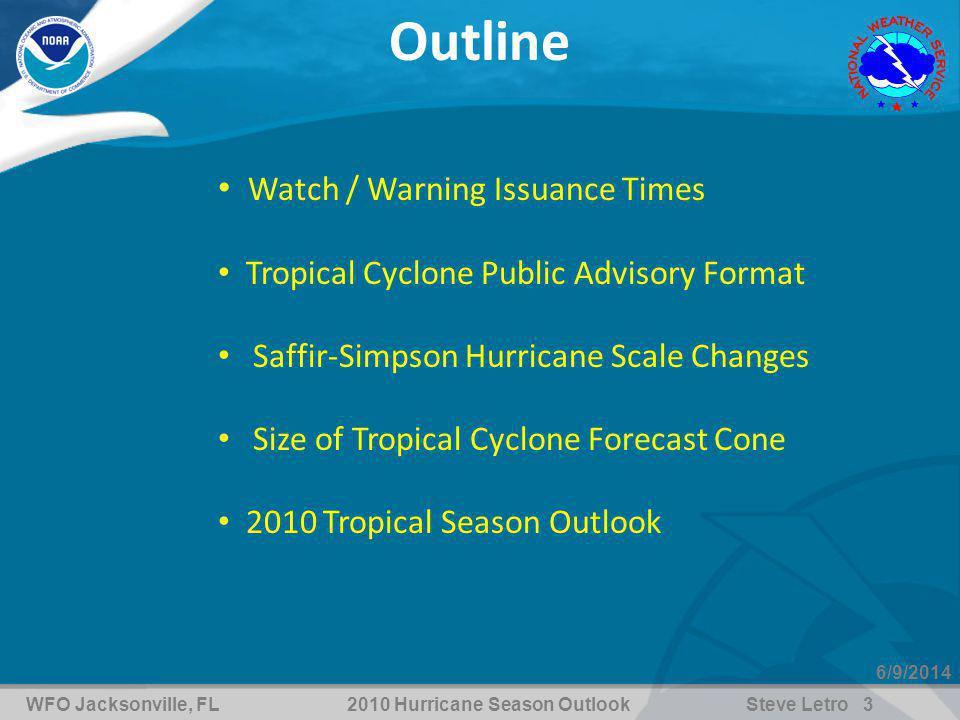 WFO Jacksonville, FL2010 Hurricane Season OutlookSteve Letro 14 6/9/2014 Saffir-Simpson Hurricane Wind Scale IKE (2) KATRINA (3) CHARLEY (4) Surge, Rainfall, and Pressure Fit the Scale Like a Square Peg in a Round Hole http://www.nhc.noaa.gov/aboutsshs.shtml