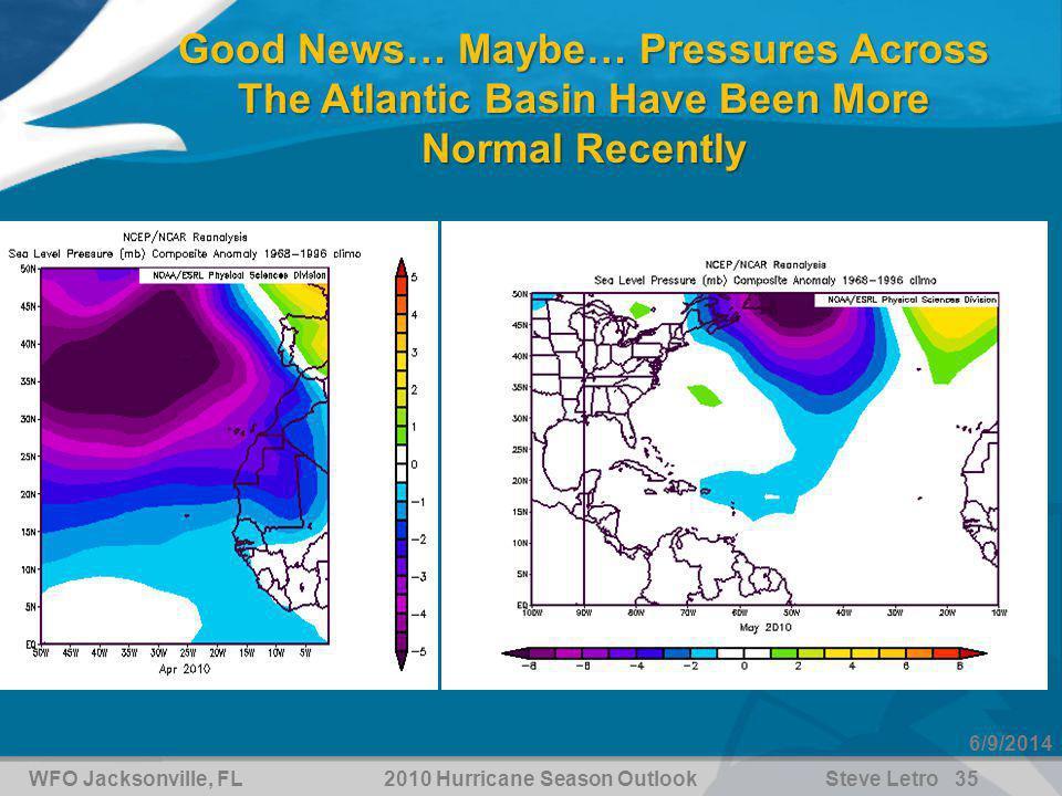 WFO Jacksonville, FL2010 Hurricane Season OutlookSteve Letro 35 6/9/2014 Good News… Maybe… Pressures Across The Atlantic Basin Have Been More Normal Recently