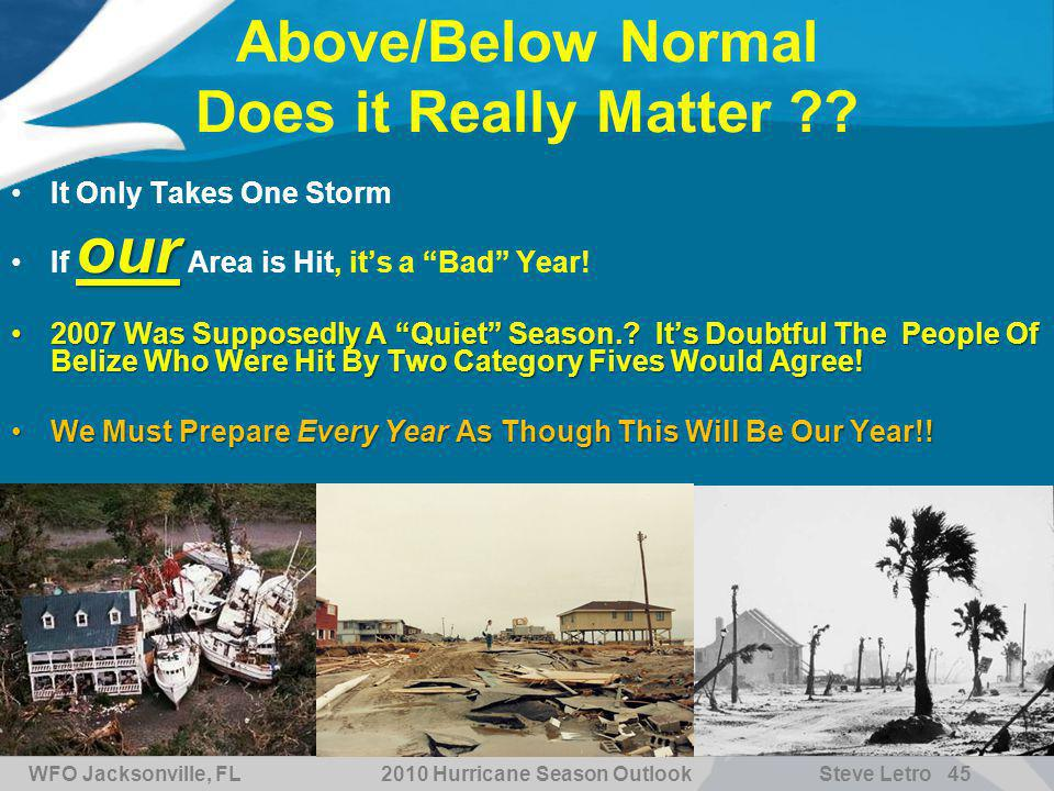 WFO Jacksonville, FL2010 Hurricane Season OutlookSteve Letro 45 6/9/2014 Above/Below Normal Does it Really Matter .
