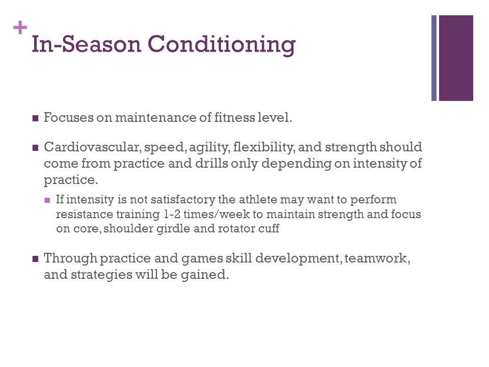 + In-Season Conditioning Focuses on maintenance of fitness level.