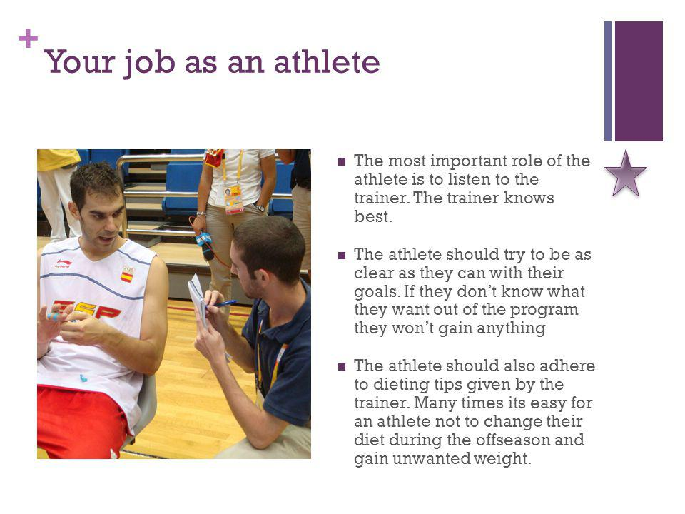 + Your job as an athlete The most important role of the athlete is to listen to the trainer.