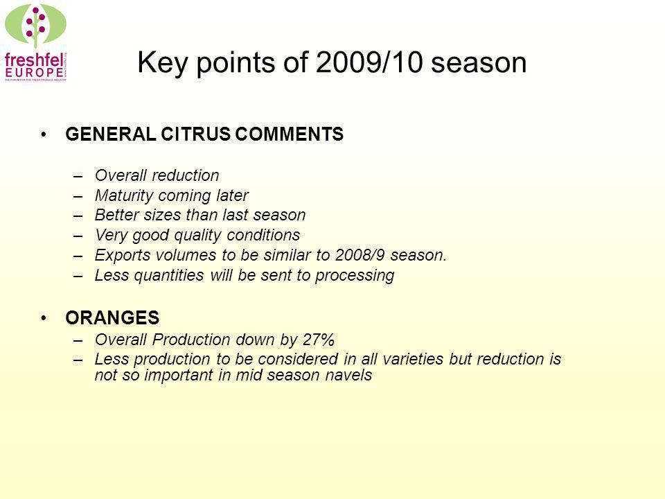 Key points of 2009/10 season GENERAL CITRUS COMMENTS –Overall reduction –Maturity coming later –Better sizes than last season –Very good quality conditions –Exports volumes to be similar to 2008/9 season.