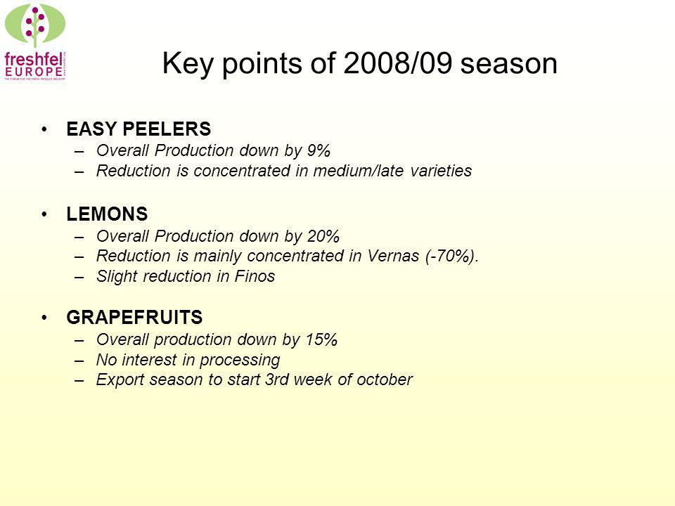 Key points of 2008/09 season EASY PEELERS –Overall Production down by 9% –Reduction is concentrated in medium/late varieties LEMONS –Overall Productio
