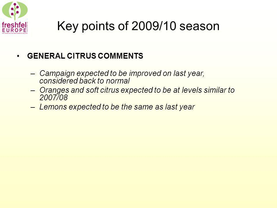 Key points of 2009/10 season GENERAL CITRUS COMMENTS –Campaign expected to be improved on last year, considered back to normal –Oranges and soft citru