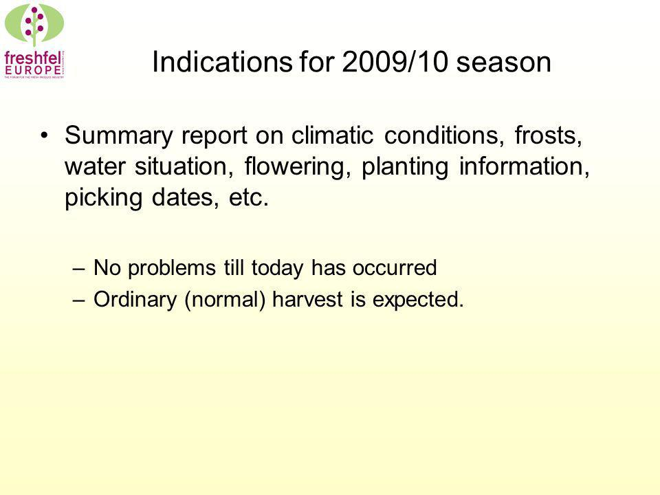 Indications for 2009/10 season Summary report on climatic conditions, frosts, water situation, flowering, planting information, picking dates, etc.
