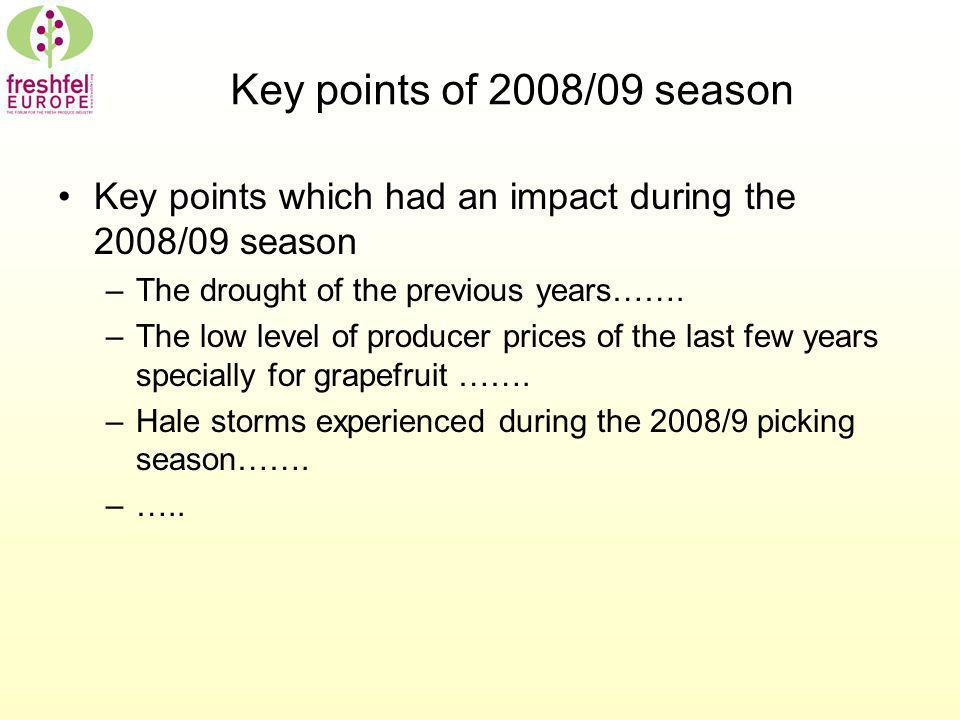 Key points of 2008/09 season Key points which had an impact during the 2008/09 season –The drought of the previous years……. –The low level of producer