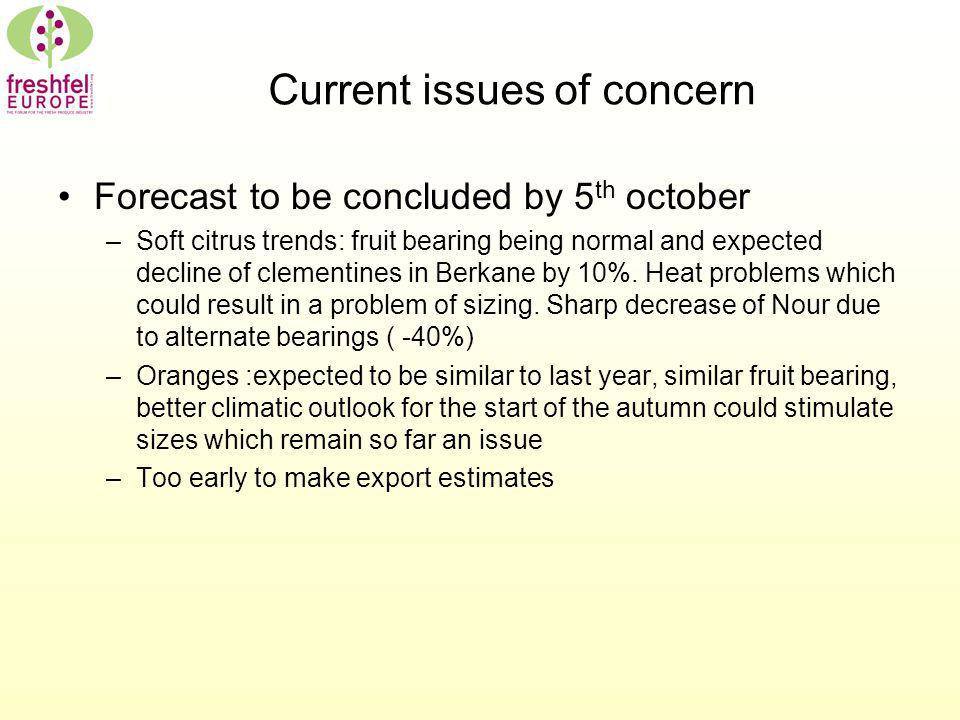 Current issues of concern Forecast to be concluded by 5 th october –Soft citrus trends: fruit bearing being normal and expected decline of clementines in Berkane by 10%.