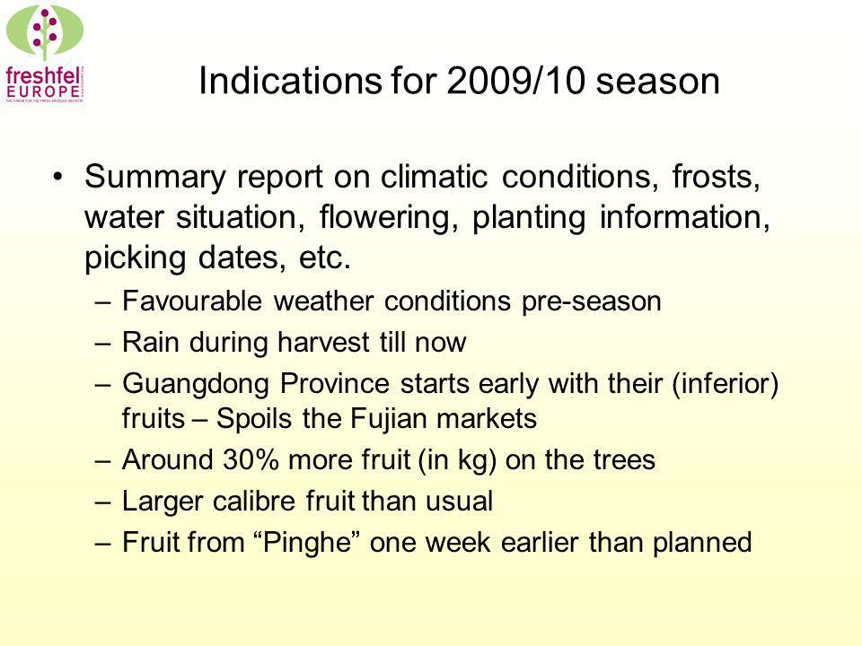 Indications for 2009/10 season Summary report on climatic conditions, frosts, water situation, flowering, planting information, picking dates, etc. –F