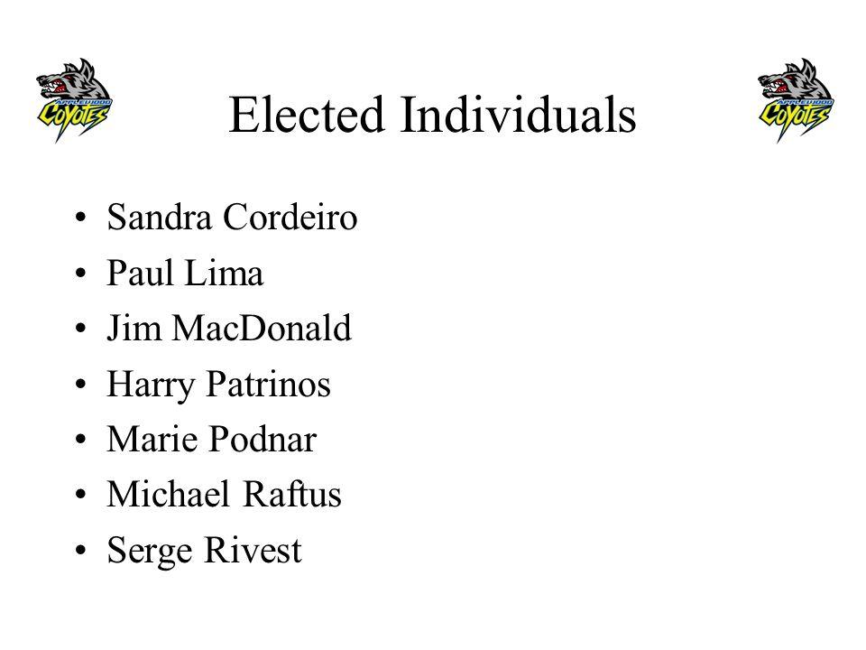 Elected Individuals Sandra Cordeiro Paul Lima Jim MacDonald Harry Patrinos Marie Podnar Michael Raftus Serge Rivest